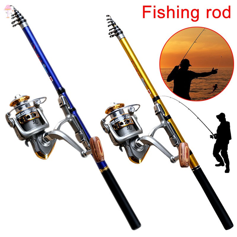 2.7M Portable Carbon Fiber Ultralight Travel Telescopic Fishing Rod Reel Lures