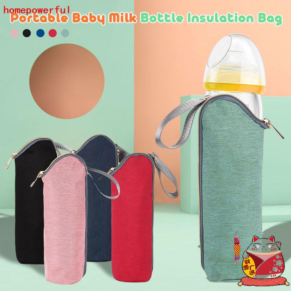 HF ฉนวนกันความร้อนขวดนมกระเป๋าเดินทางกระเป๋าขวดนมอุ่นสำหรับอาหารทารกแรกเกิดแบบพกพารถเข็นเด็กแขวนกระเป๋า