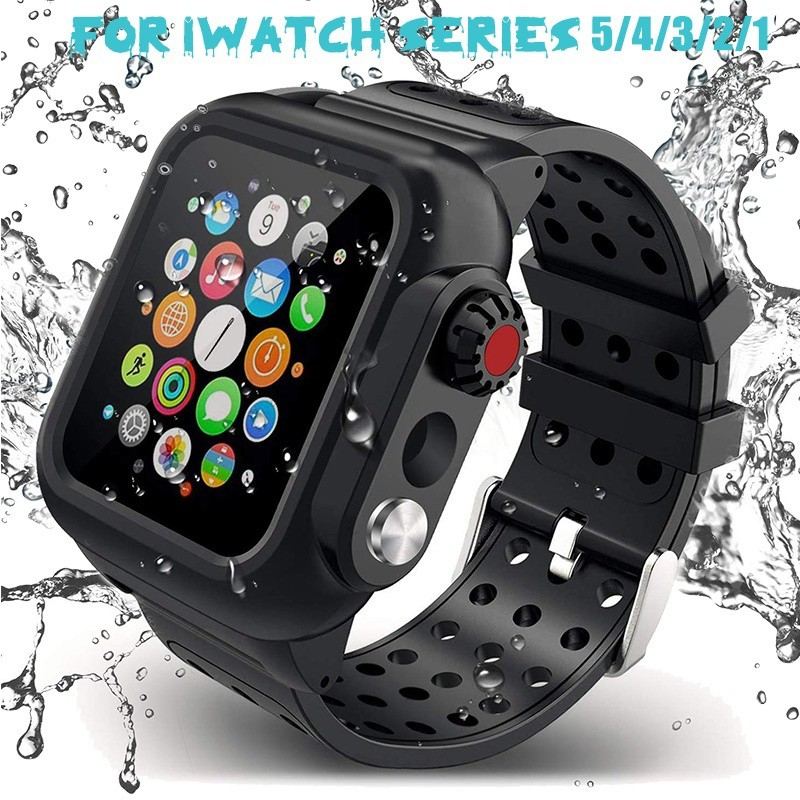 ( Cod ) [Redpepper] IP68 Waterproof Watch Case With Watch Band for Apple Watch Series 5/4/3/2/1 for iWatch 44mm 42mm 40mm 38mm