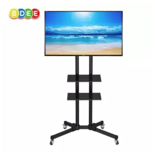 ขาตั้งทีวีแบบมีล้อ ขาตั้งโทรทัศน์พร้อมชั้นวาง 2 ชั้น ใช้กับทีวีขนาด 32-60 นิ้ว