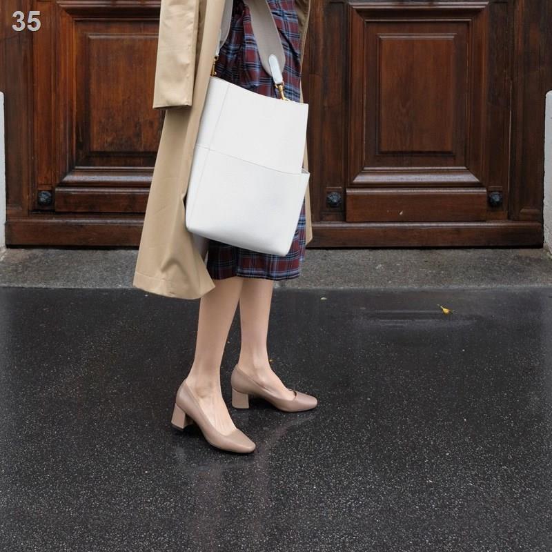 ✘№รองเท้าคัชชูส้นเตี้ยผู้หญิงปี 2021 ฤดูร้อนใหม่ ปลายแหลม ส้นเตี้ย ส้นสูง ส้นสูง รองเท้าทำงาน สีดำ สำหรับผู้หญิง
