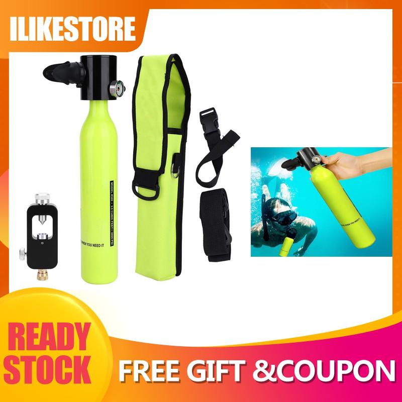 Diving Oxygen Tank,Respirator Oxygen Cylinder Tank+Hydropneumatic Adapter Respirator Bag Diving Equipment