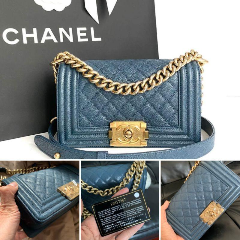 แบรนด์แท้💯 Sale🔥 Chanel Boy 8 Navy Caviar Holo 23 Full set
