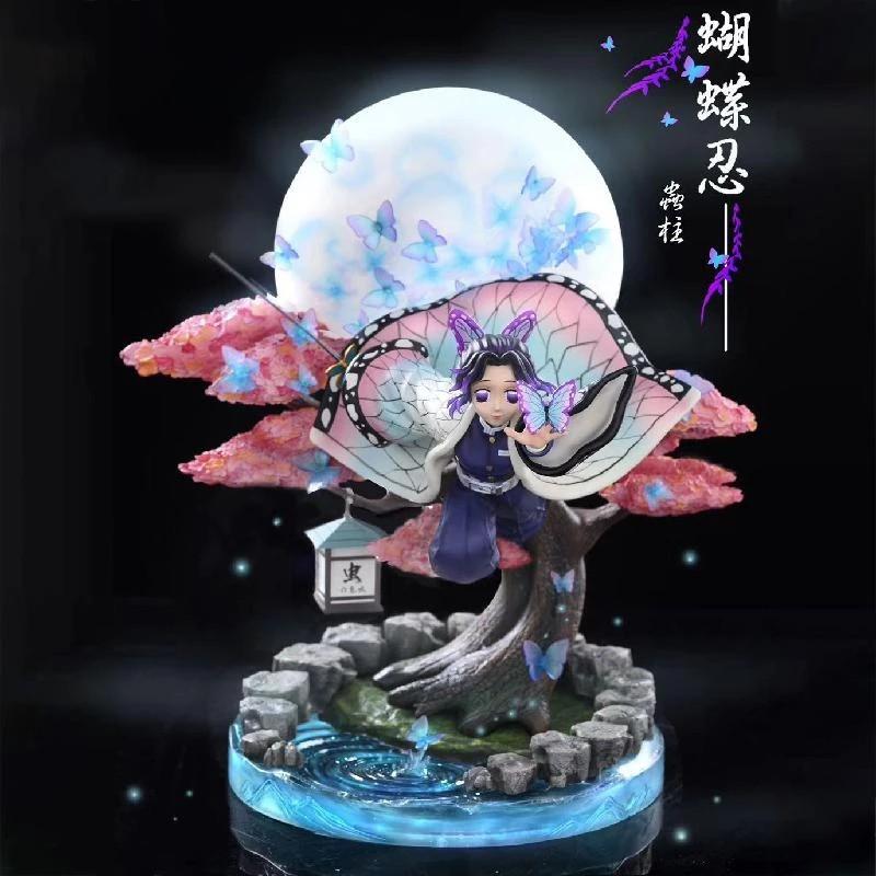 นักล่าปีศาจDevil's Blade Anime Figure Kochou Shinobu Demon Slayer GK Flying osture Moon Anime Statue Kimetsu No Yaiba A0