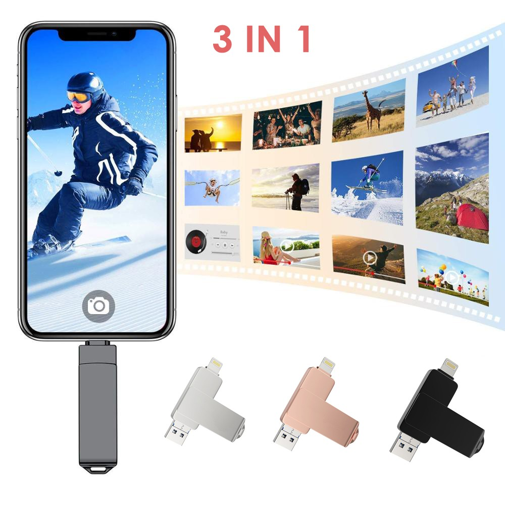 แฟลชไดรฟ์ Usb 3 . 0 256 Gb 128 Gb 64gb 32gb Otg สําหรับ Iphone 7 / 7 Plus / 8 / X
