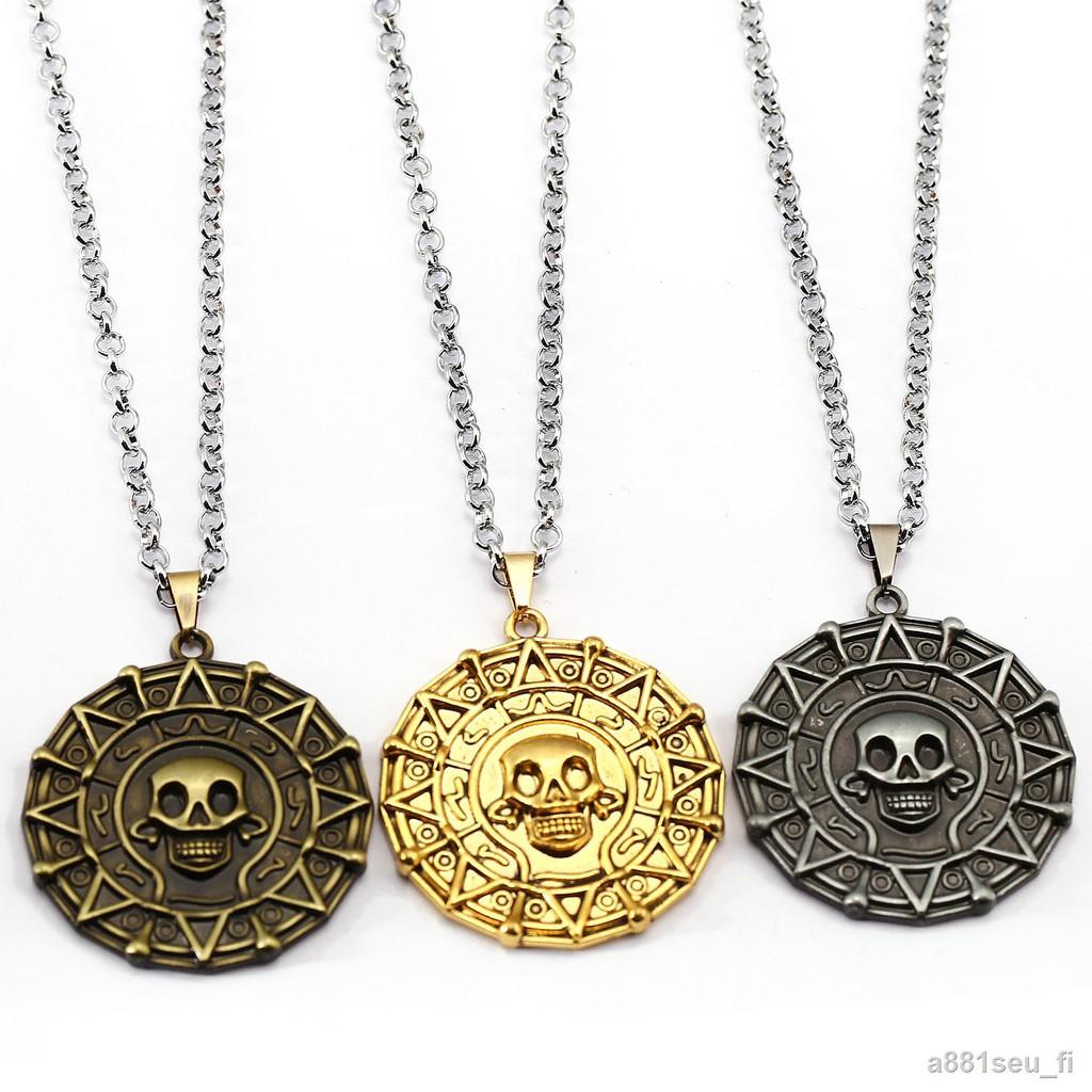 ราคาขายส่ง☾✎✥Pirates of the Caribbean Aztec เหรียญทอง Coin เหรียญทองสร้อยคอจี้สามสี