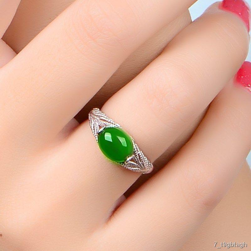 ราคาต่ำสุด▣แหวนเพชรหกเหลี่ยมชุบทองคำขาว แหวนเงิน 925 แหวนข้อเสนอหญิง Hetian Jade Chalcedony แหวนคู่ของขวัญวันเกิด
