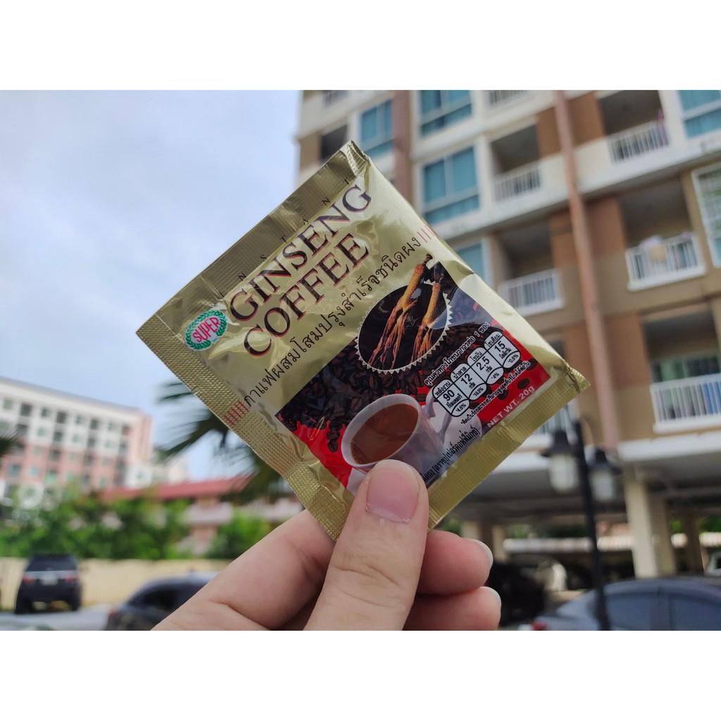 กาแฟซุปเปอร์ ผสมโสม กาแฟปรุงสำเร็จ 3อิน1 (สีทอง) 20 กรัม Super Coffee Ginseng 3In1 **แบ่งขาย**