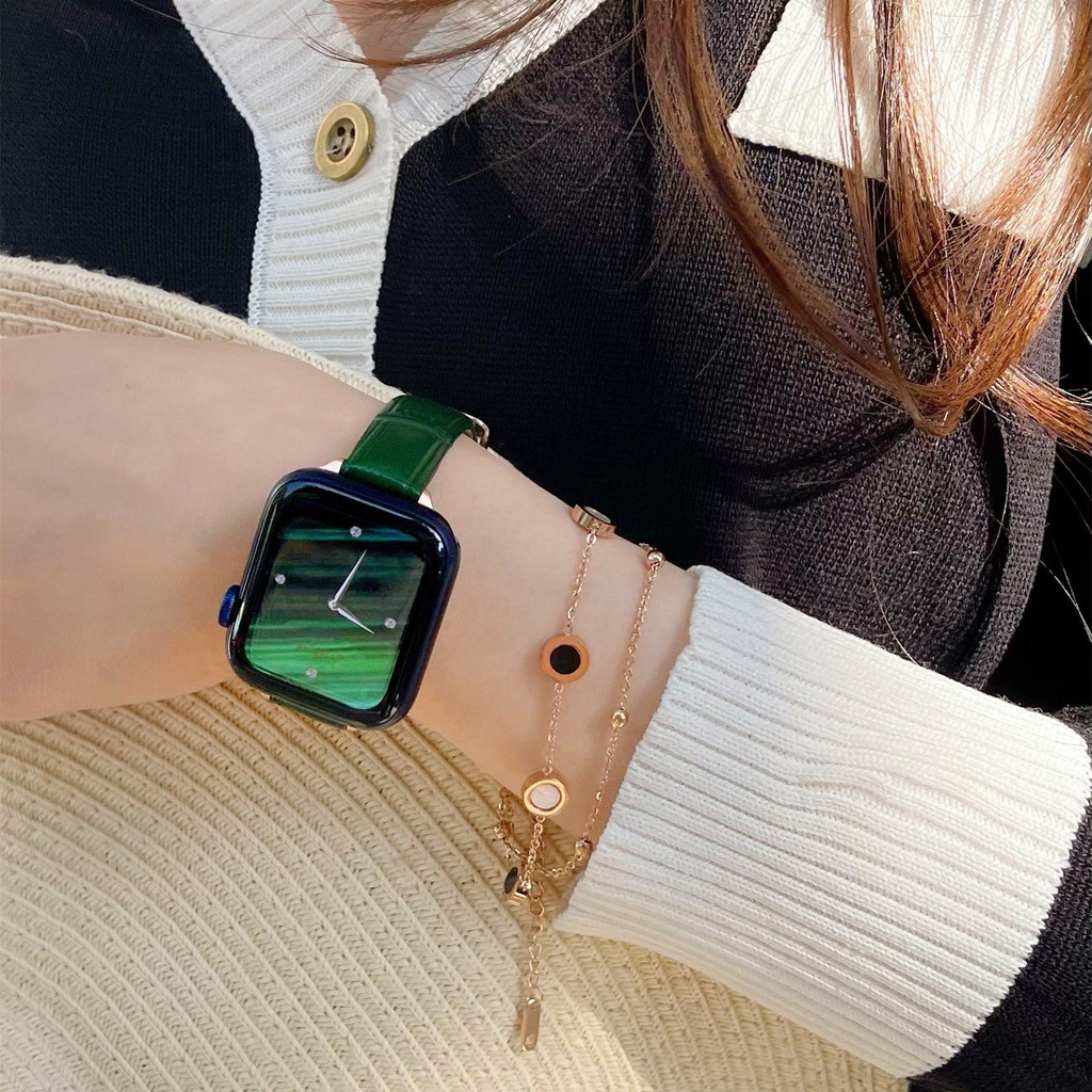 applewatch6 เข็มขัด☊หนังลูกวัวสเปนเหมาะสำหรับ applewatch apple watch หนังอย่างดี iwatch123456 รุ่น SE