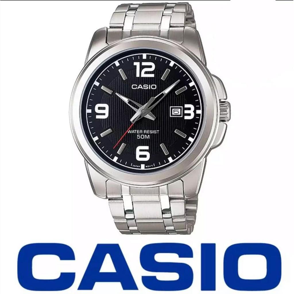 Casio นาฬิกาข้อมือผู้ชาย สายสแตนเลส หน้าปัดดำ รุ่น MTP-1314D-1AV-100%