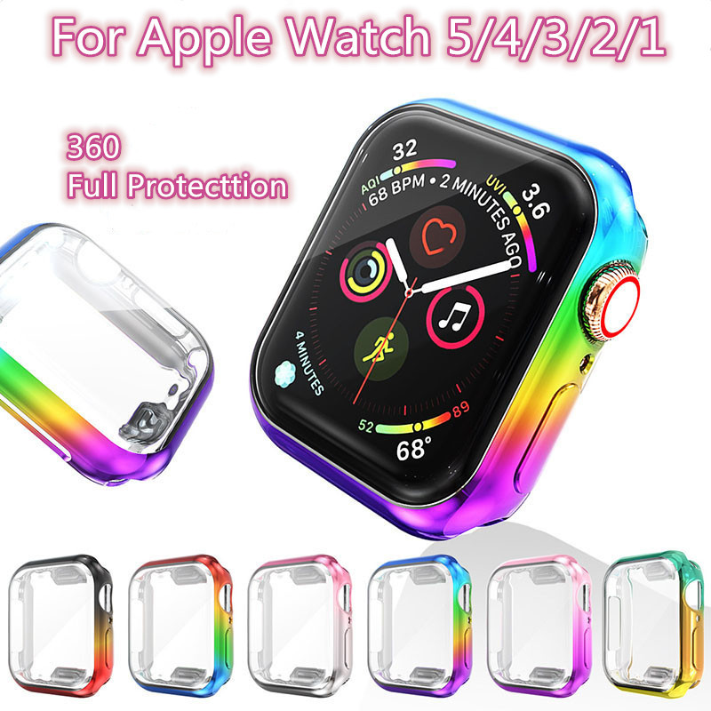Rainbow Case For Apple Watch Series 5 4 3 2 1 Slim Gradient TPU Screen Protector iWatch 42MM 38MM 44MM 40MM  iwatch 360 Cover