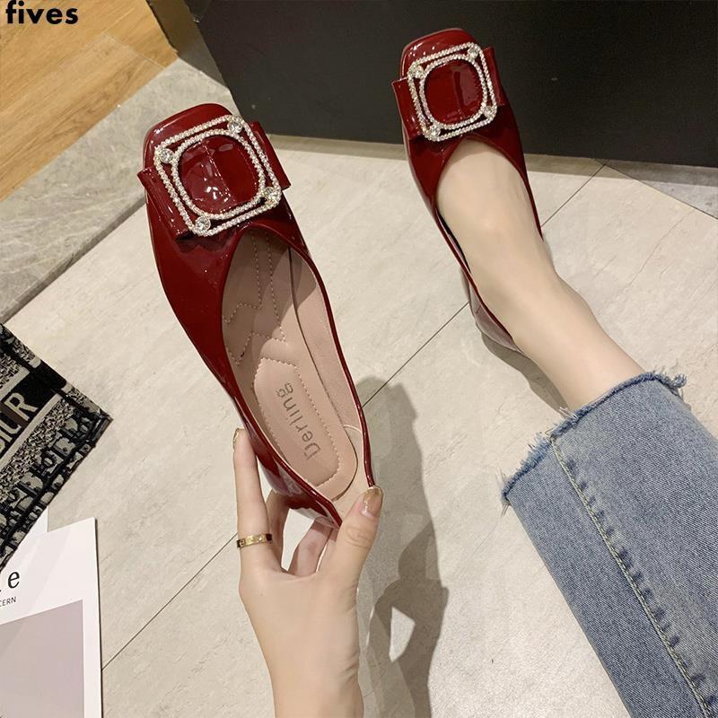 รองเท้าผู้หญิงแบบขั้นตอนเดียวรองเท้าคัชชูส้นแบนหัวแหลมทุกคู่รองเท้าเดียวพื้นนุ่มรองเท้าถั่ว