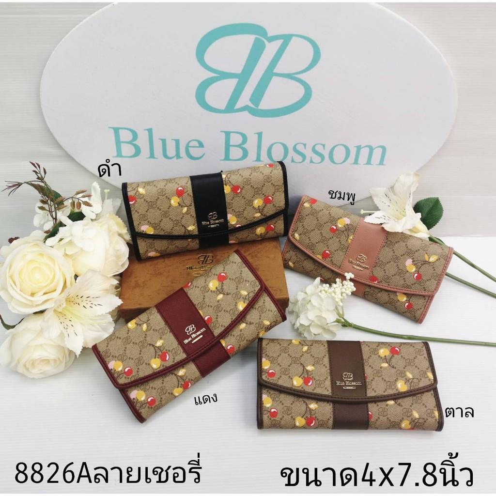 กระเป๋าสตางค์ใบยาว Blue Blossom 3พับ ลายเชอร์รี่ พร้อมกล่อง แท้ 100%