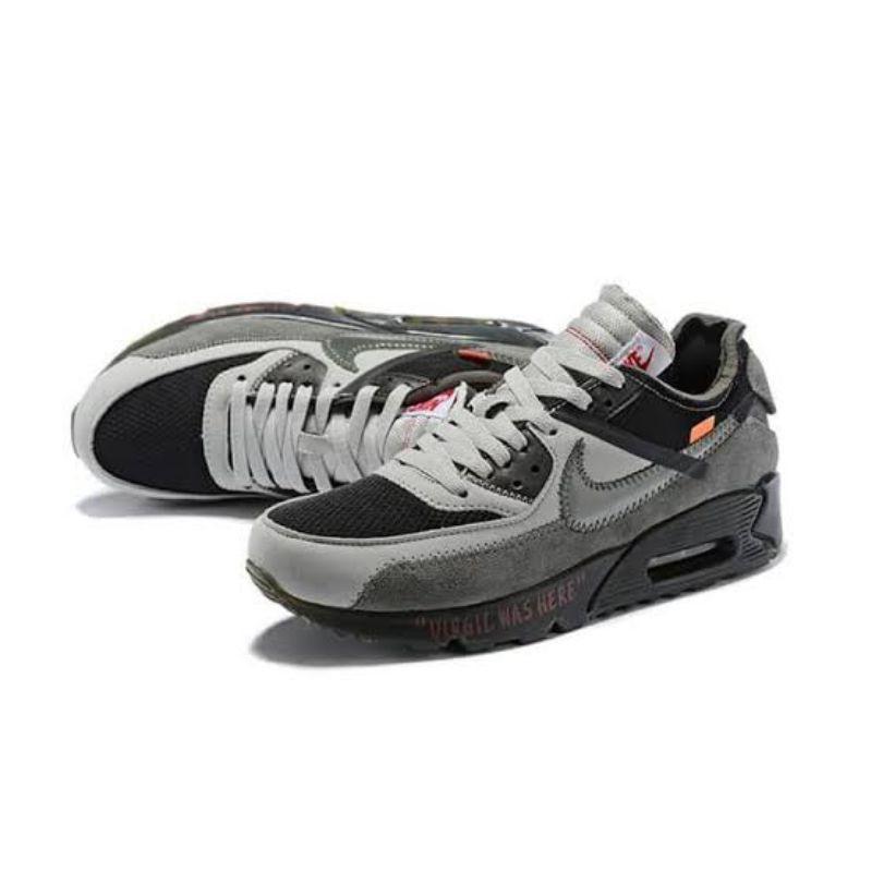 รองเท้าผ้าใบ Nike Airmax 90 Off สีขาวดําเทา