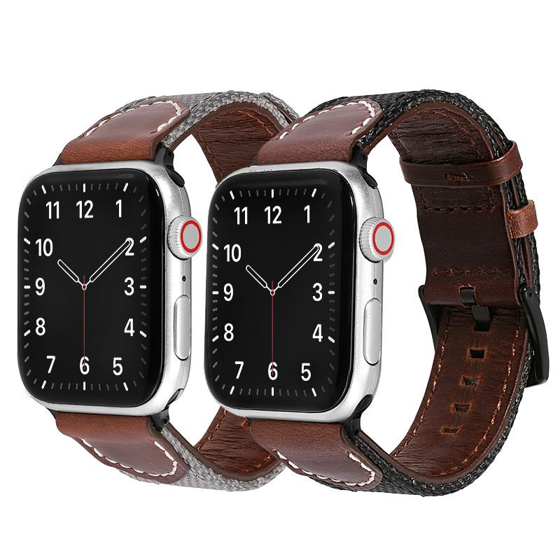 Nylon Strap&Calfskin Strap for Apple Watch 6 5 SE Watch Strap 42mm 38mm for iWatch 4 Series 3 2 1 Band 44mm 40mm