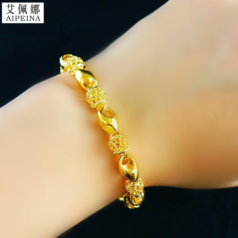 ใหม่ของแท้ฮ่องกงสร้อยข้อมือทอง 18K ผู้หญิงโอนลูกปัด 99 ทองบริสุทธิ์ 24K สร้อยข้อมือทองไม่ซีดจางราคาพิเศษ