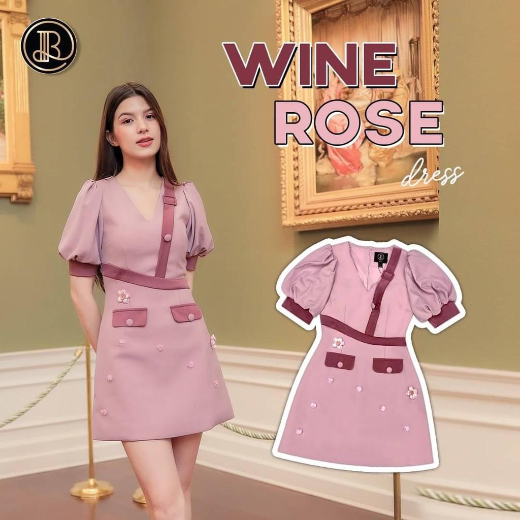BLT BRAND การันตีเสื้อผ้าแบรนด์แท้ มินิเดรส สีชมพูแขนตุ๊กตา WINE ROSE Size XS