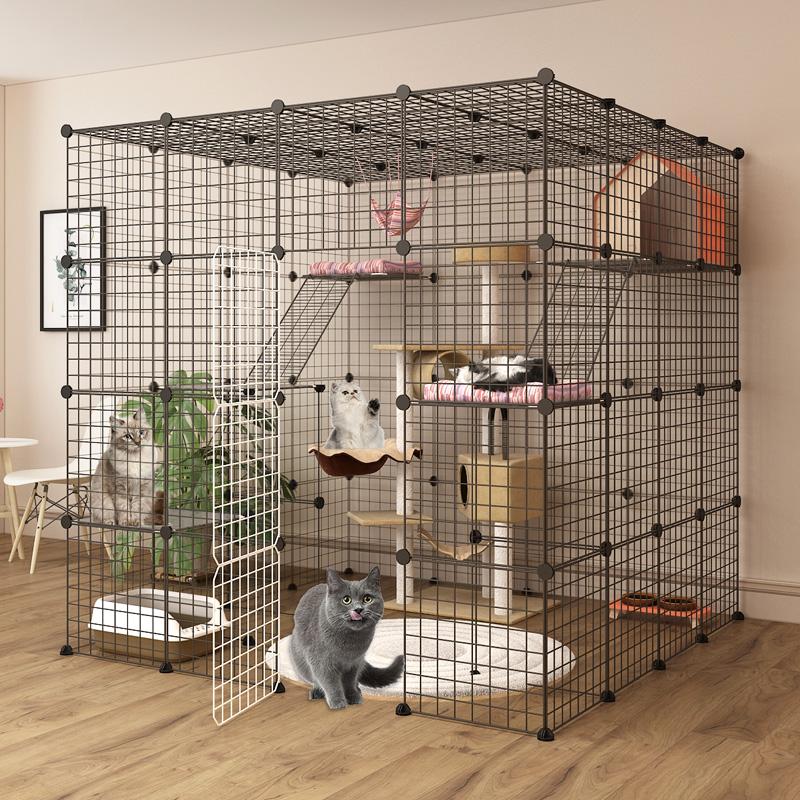กรงแมวบ้านวิลล่าขนาดใหญ่自由空间ในร่มบ้านแมวขนาดใหญ่ที่มีห้องน้ำแมวกรงกวาดล้างแมวแมว