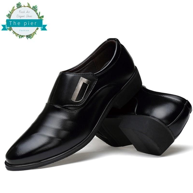 แฟชั่น รองเท้าหนังผู้ชาย รองเท้าหนัง รองเท้าสูทหนังสีดำ สำหรับผู้ชาย รองเท้าคัชชูหนังชาย รองเท้าทำงานผู้ชาย T314
