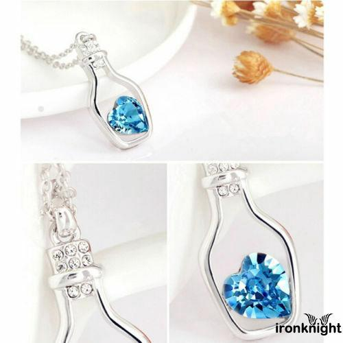 Review ❤XZQ-Ladies Fashion Chain Bottle Love Crystal Alloy Necklace