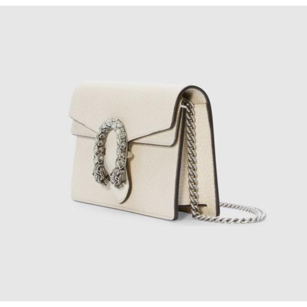 แบรนด์แท้100%Gucci Dionysus White Super Mini Leather and Velvet Cross Body Bag