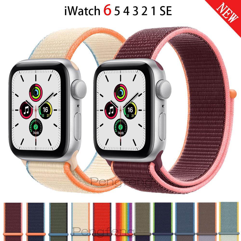สายนาฬิกาข้อมือไนล่อนสําหรับ Apple Watch Band 44 mm 40 mm Iwatch Series 6 5 4 3 2 1 Se 42 mm 38 mm
