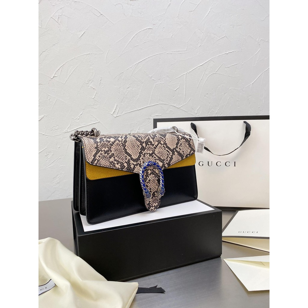✨🔥Shangxin? [exclusive? Real shot] Gucci Wannian's latest design snake pattern Dionysus snakehead bag