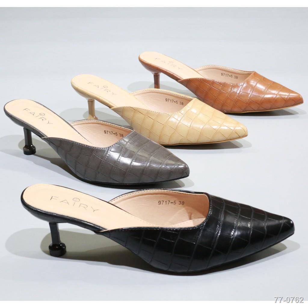 """◑9717-5 คัชชูเปิดส้นสูง 2.5""""  รองเท้าคัชชูหัวแหลมเปิดส้น  รองเท้าส้นสูง แฟชั่น FAIRY"""
