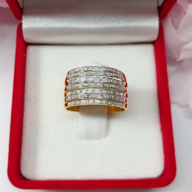 แหวนเพชร7แถว ทองคำแท้ ราคาโรงงาน