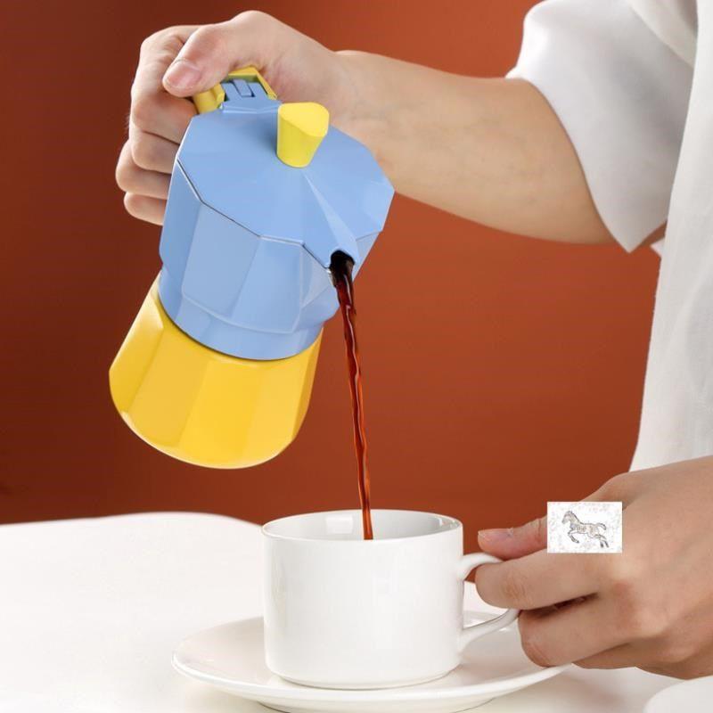 ✱ผลิตภัณฑ์ใหม่  หม้อ Moka, วาล์วคู่, เครื่องทำกาแฟในครัวเรือนขนาดเล็ก, เครื่องชงกาแฟเอสเปรสโซ, มือ ชุดหม้อกาแฟ จัดส่งฟรี