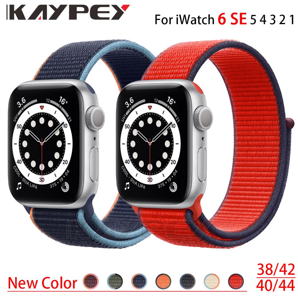 สายนาฬิกาข้อมือไนล่อนสําหรับ Apple Watch Series 6 Se 5 4 3 2 Watch Band 44 มม . 40 มม . Iwatch 38 มม . 42 มม . . .