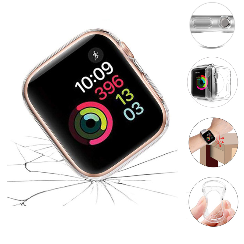 Apple Watch Series 5 4 3 2 1 Soft Silicone Case iWatch 38mm 40mm 42mm 44mm Transparent Cases Shockproof Protective Cover