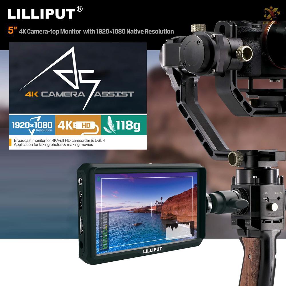 e & t lilliput a 5 5 นิ้ว ips กล้องบันทึกวิดีโอหน้าจอมอนิเตอร์สําหรับ 4 k full hd พร้อม 1920x10