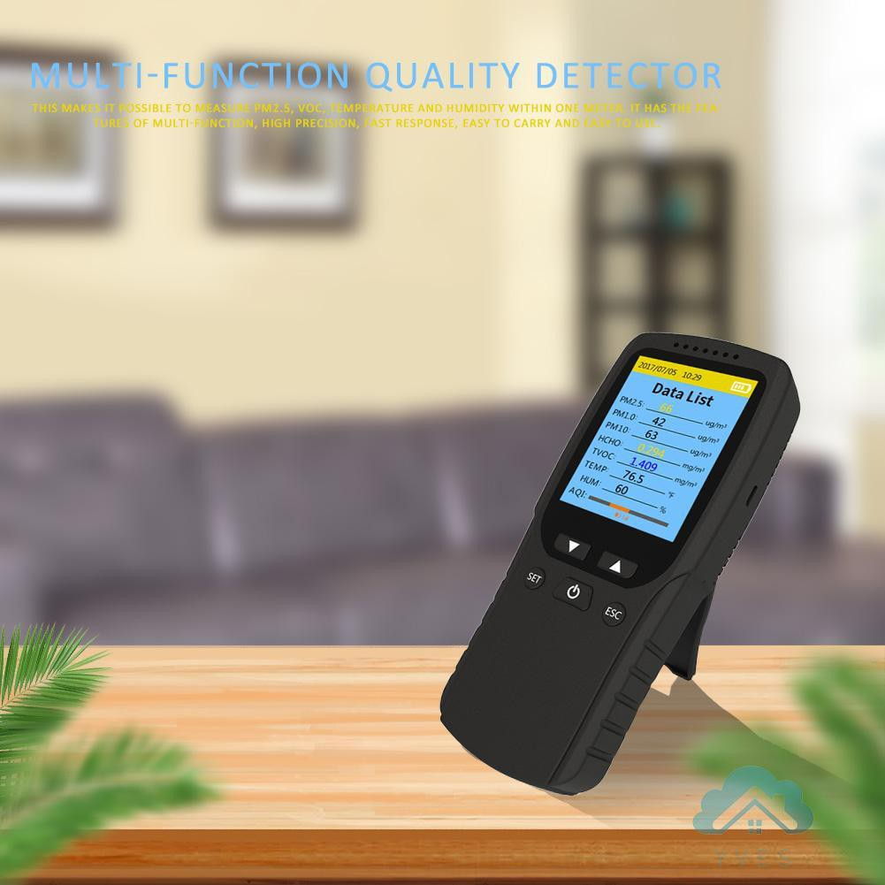 8 in 1 PM2.5//HCHO//TVOC//AQI Air Quality Monitor LCD Temperature Humidity Meter