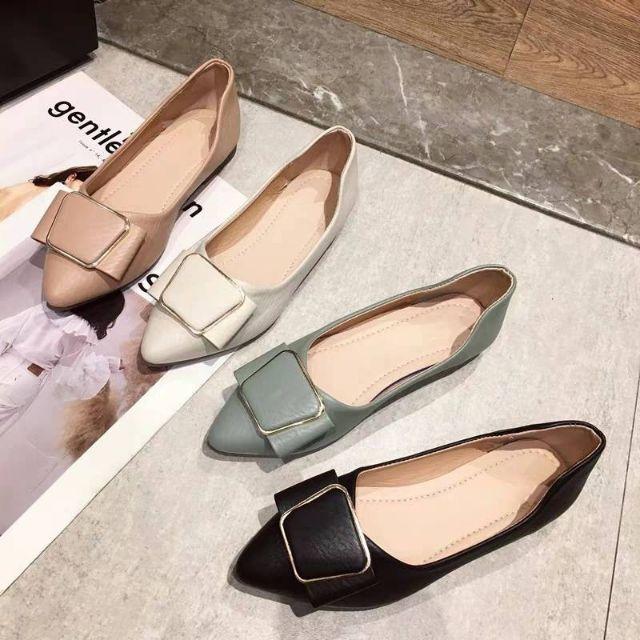 รองเท้าส้นแบนหัวแหลม⚡️รองเท้าเปิดส้น⚡️รองเท้าคัชชู ส้นเตี้ย รองเท้าผู้หญิง รองเท้าโลฟเฟอร์ คัชชู  รองเท้าทำงาน  สไตล์ญี่