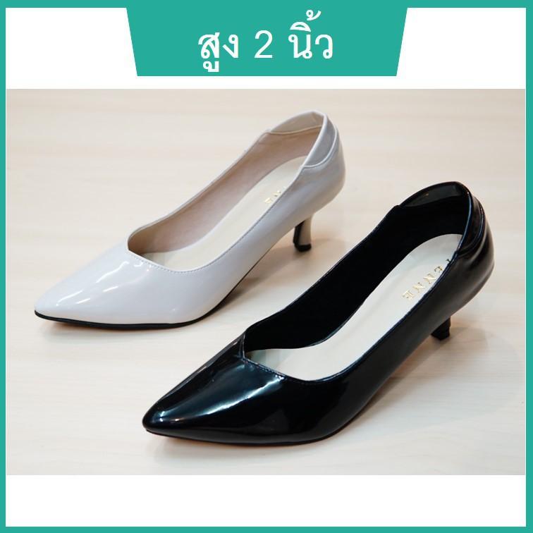 รองเท้าคัชชู รองเท้าคัชชูผู้หญิง สูง 2 นิ้ว สีดำ สีครีม หนังนิ่ม ใส่สบาย ปลายแหลม ส้นเข็ม ไซส์ 35-40 แบรนด์ PENNE