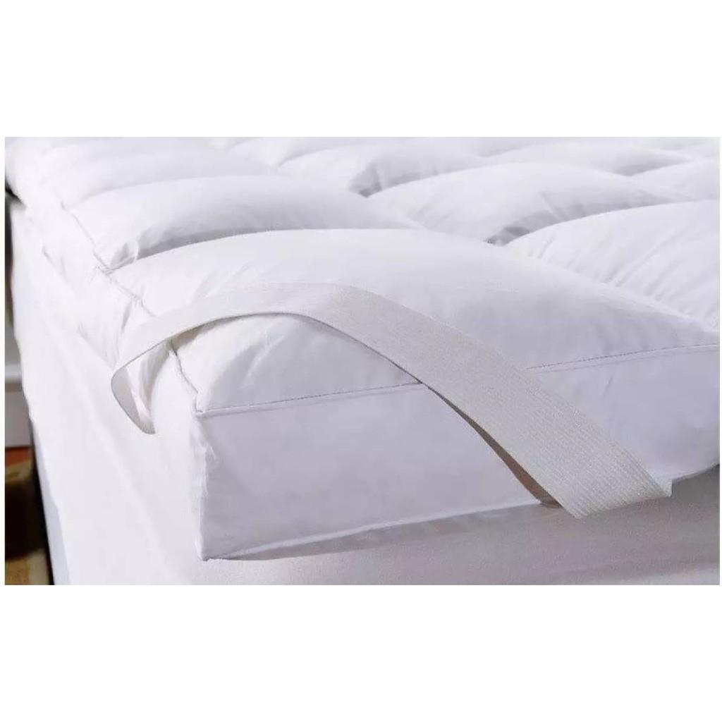 Topper ขนห่านเทียม 3.5ฟุต/5ฟุต/6ฟุต Topper เบาะรองนอน ผ้ารองกันเปื้อน ผ้ากันเปื้อน ปลอกที่นอน lRmt