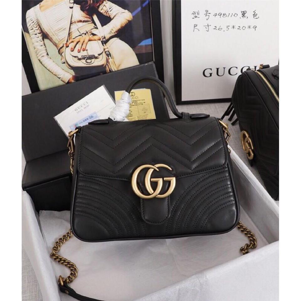 กระเป๋า Gucci-498110 quilted leather corrugated shoulder handbag original bag bag for women  ba กระเป๋าสะพายข้าง กระเป๋า
