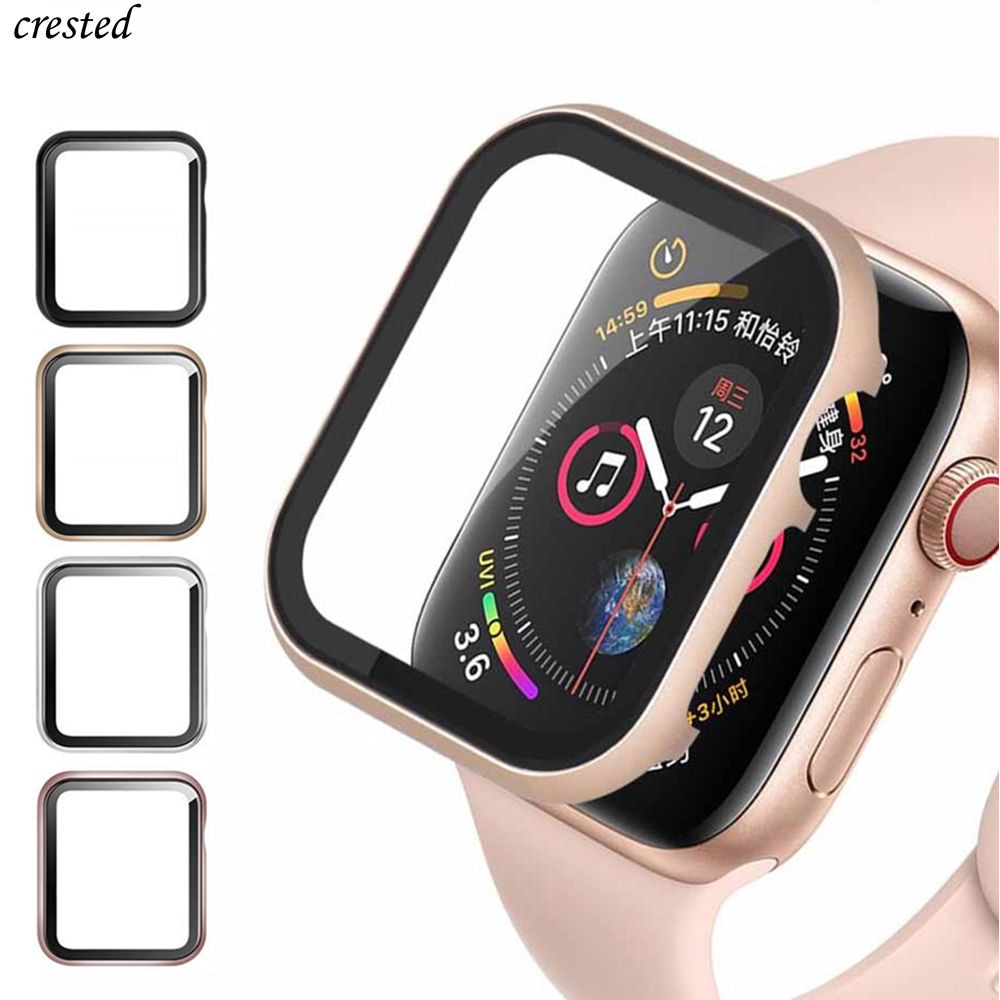 Glass+case for Apple Watch serie 6 5 4 3 SE 44mm 40mm iWatch case 42mm 38mm Bumper+screen Protector Cover Apple watch Ac