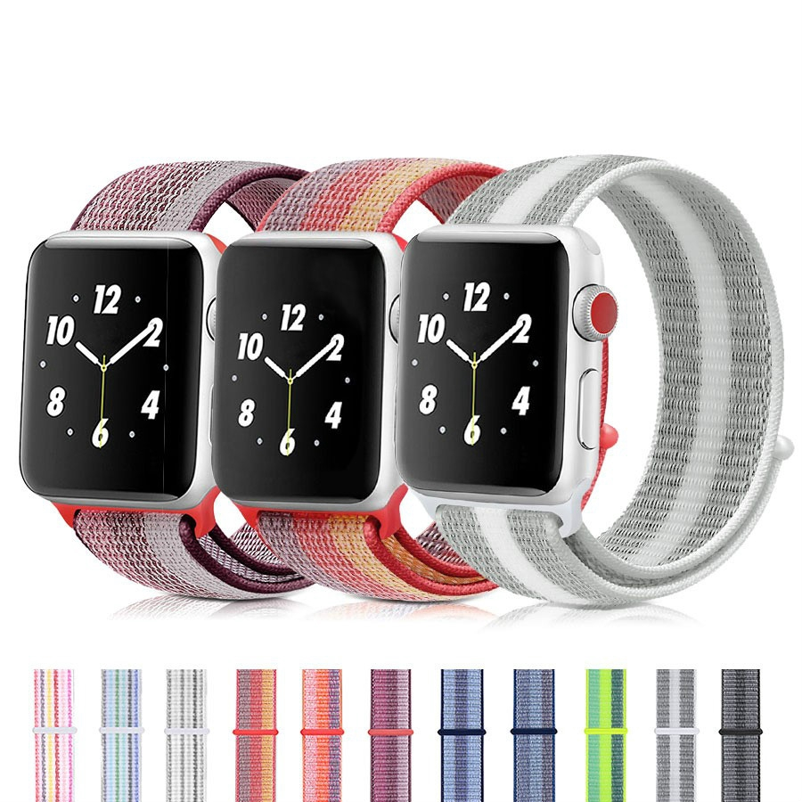 สาย apple watch สายนาฬิกาข้อมือไนล่อน Apple Watch 44 40 38 42 มม. iWatch Series 5 / 4 / 3 / 2 / 1 apple watch band