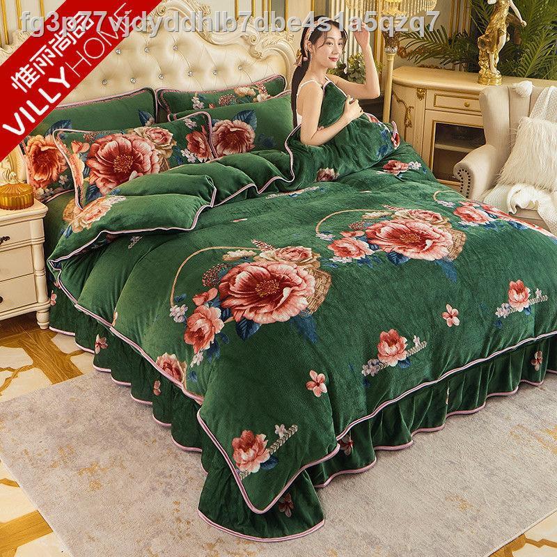 ราคาถูกแท้จริง♠▪▤ความอบอุ่น Weili Shangpin และมิงค์สีทองหนาขนแกะปะการังสี่ชิ้นผ้านวมคลุมเตียงผ้าสักหลาดสองด้านชุดสามชิ้น