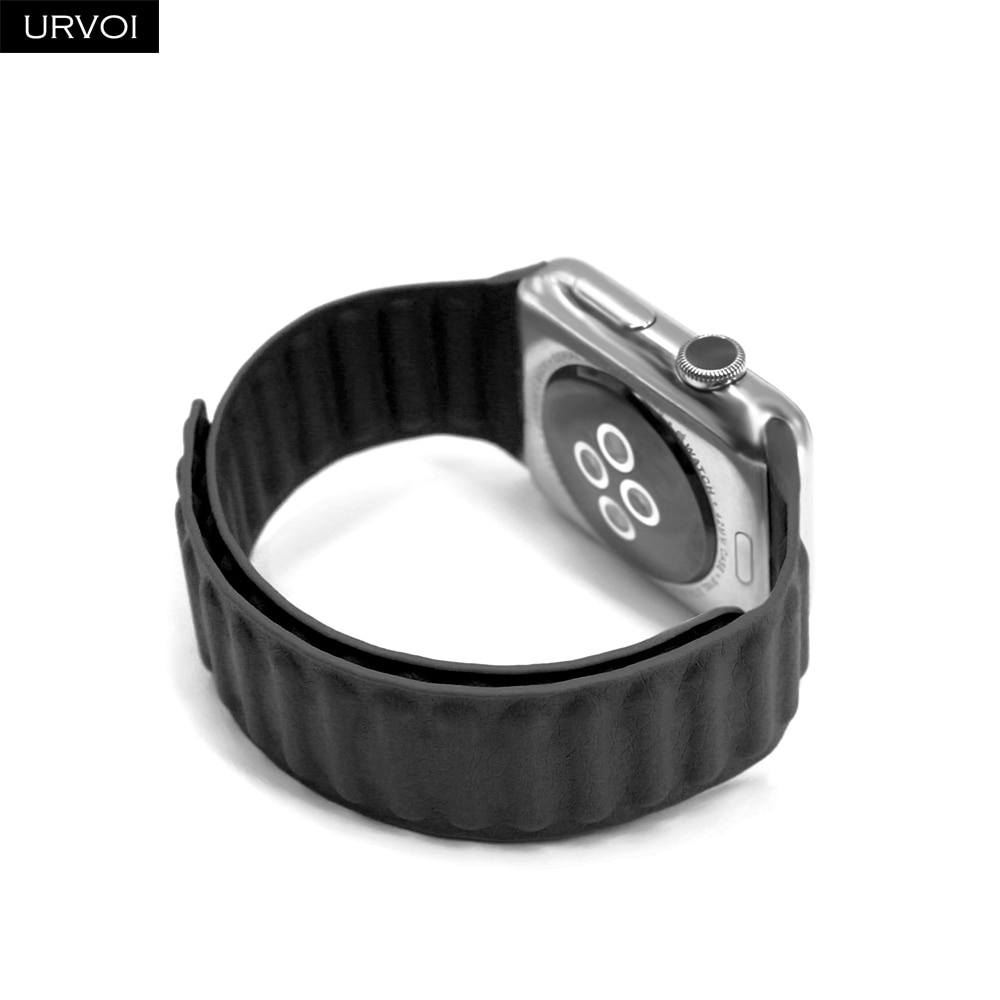 Please COD URVOI Leather link for Apple Watch band for iwatch series 6 5 4 3 2 1SE strap with magnet loop buckle comfort