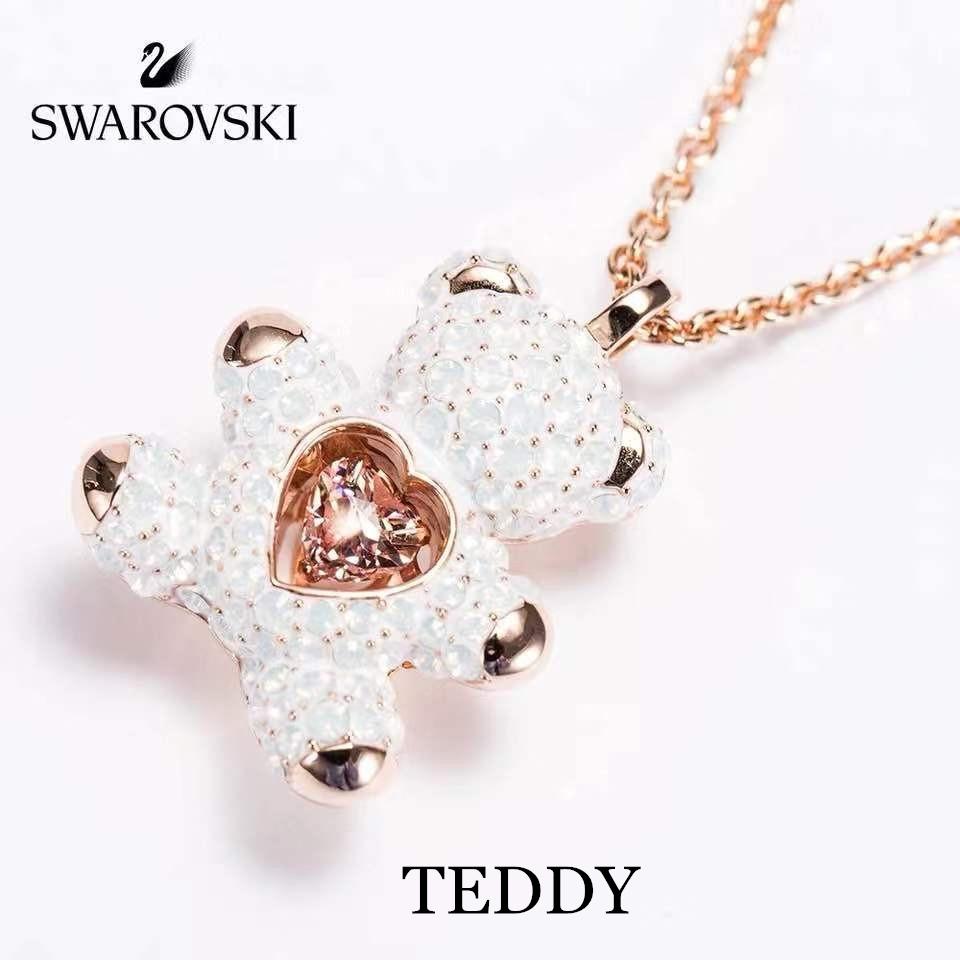 Swarovski TEDDY   สวารอฟส ของแท้ 100%สร้อยคอจี้ไล่ระดับราชินีหงส์น้อย  ส่งของขวัญให้แฟนสร้อย