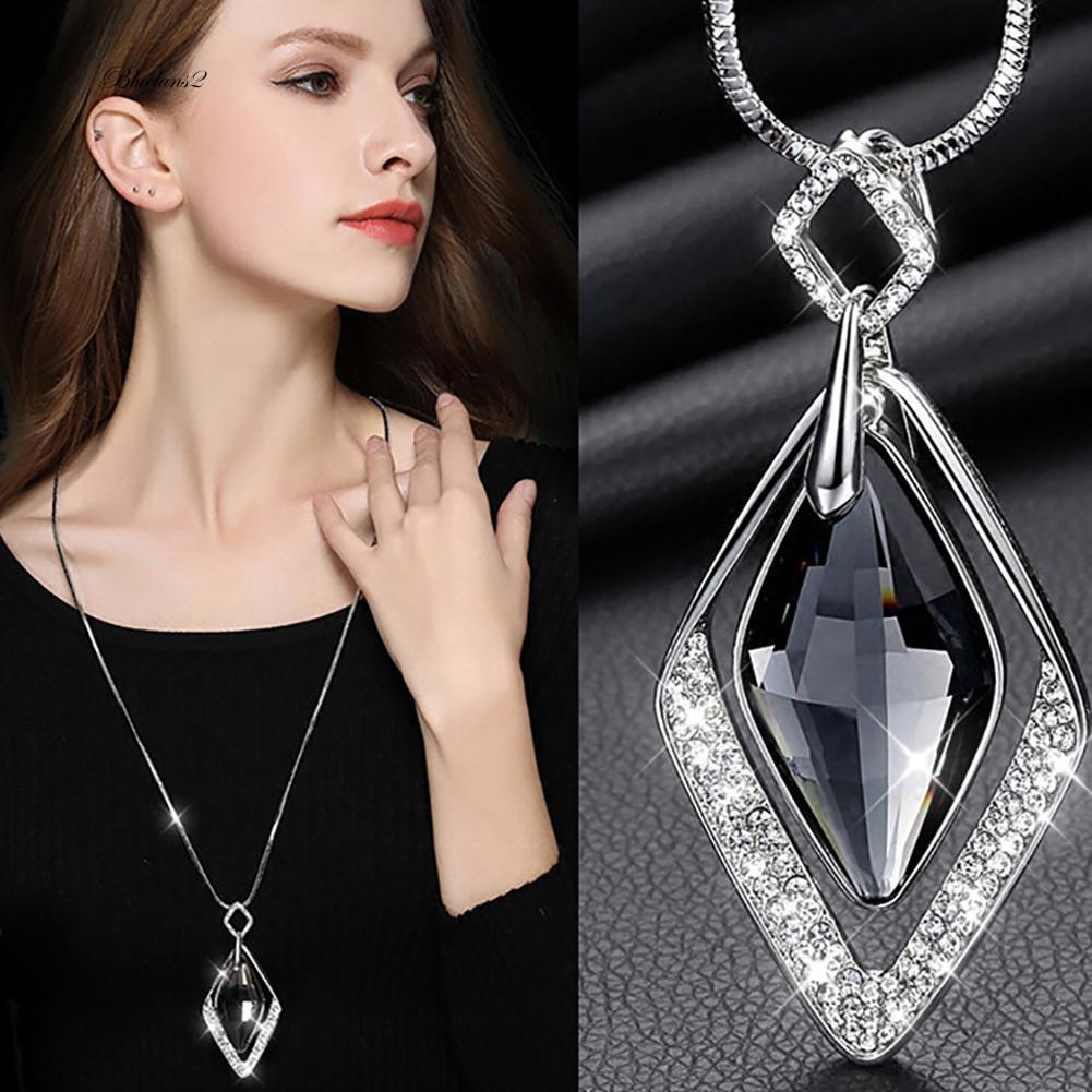 Fashion Women Jewelry Rhombus Crystal Rhinestone Gemstone Stud Earrings New diy