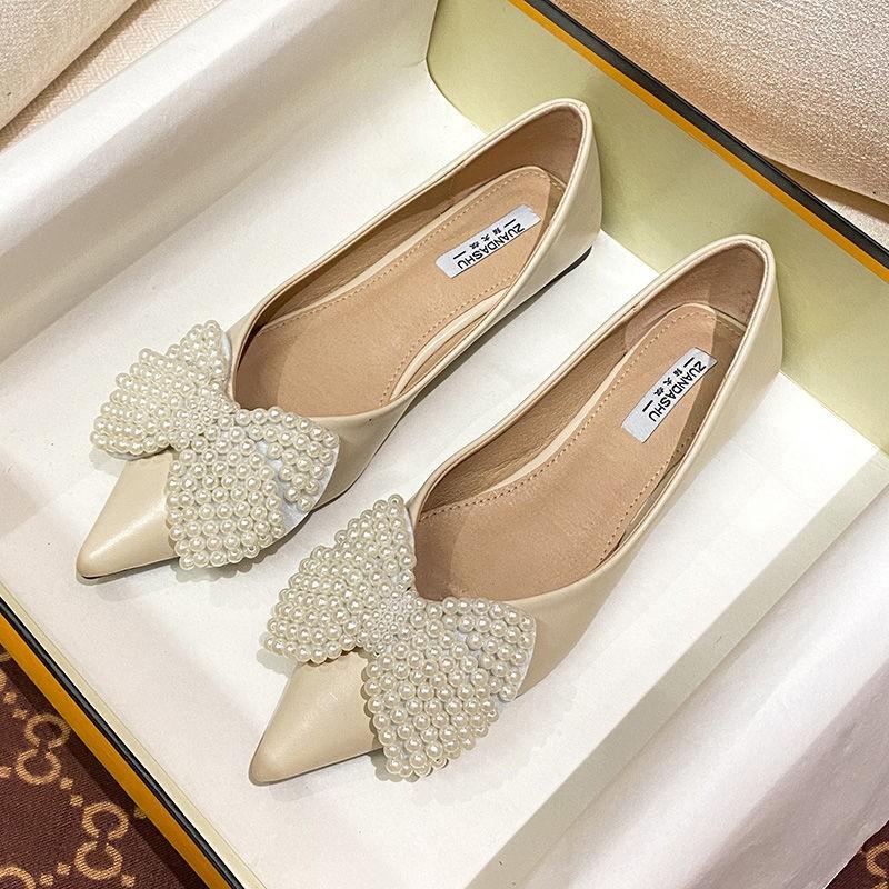 ร้องเท้า รองเท้าคัชชู รองเท้าผู้หญิง ✪หนังแบนรองเท้าเด็ก 2021 โบว์ใหม่รองเท้าเดียวผู้หญิงหลายร้อยของรองเท้าตักแหลมขนาดนุ