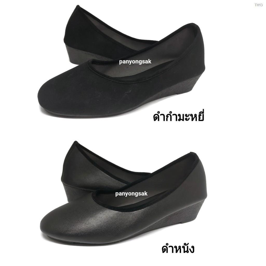 Hot ❅﹍﹍รองเท้าคัชชู ส้นสูง 1.5 นิ้ว รุ่น AJ711 size 36-41 ดำหนัง ดำกำมะหยี่
