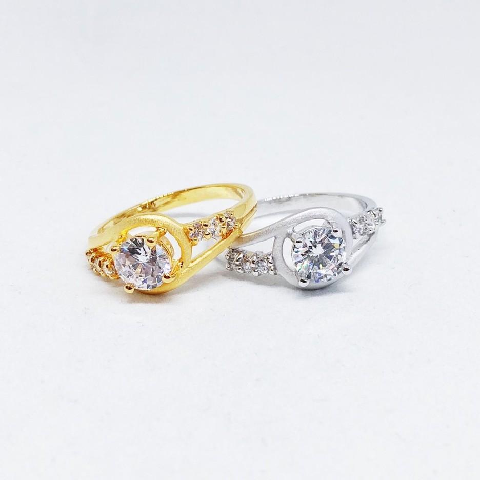 แหวนเพชร cz โค้ง ชุบทองไมครอน และซาติน ทองคำขาว ราคาพิเศษ