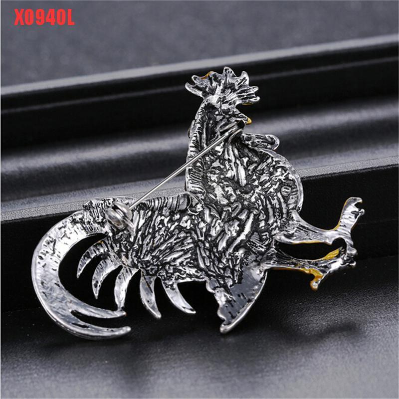 Vintage Chicken Rooster Farm Animal Opal Stone Crystal Rhinestone Brooch Pin