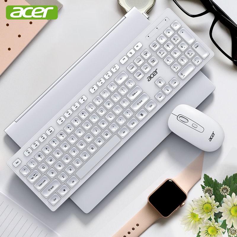 ชาร์จได้๑ชุดแป้นพิมพ์และเมาส์ไร้สายของ Acer ปิดเสียงคอมพิวเตอร์โน้ตบุ๊ก all-in-one สิ่งประดิษฐ์การพิมพ์สำนักงานสากล