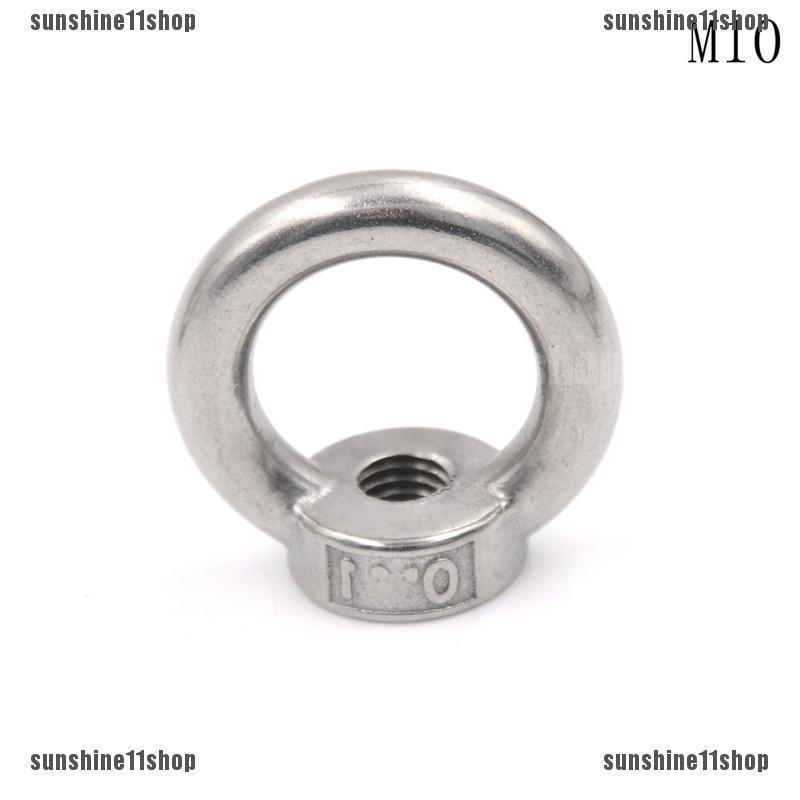 sourcingmap M10 Thread 304 Stainless Steel Japanese Style Ring Shaped Lifting Eye Nut 2pcs
